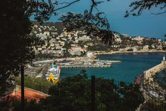NICE, FRANCE - JUNE 26, 2017: Panoramic view of Nice in France, beautiful view above Port of Nice on French Riviera royalty free stock images