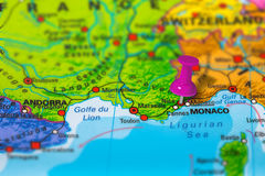 Nice France map. Nice in France pinned on colorful political map of Europe. Geopolitical school atlas. Tilt shift effect Stock Photography