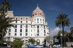 Nice, France, March 2019. The famous Negresco luxury hotel in the neoclassical style on the Promenade des Anglais in Nice. stock images