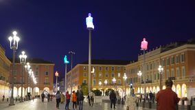 The Plaza Massena Square at night in Nice France. NICE, FRANCE - MARCH 28, 2018: The Plaza Massena Square at night in Nice France stock footage