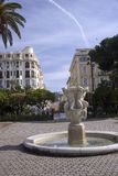 Nice, France, March 2019. A small old fountain in the park on the Promenade des Anglais. Warm sunny day. Walk on the Cote d`Azur stock photo