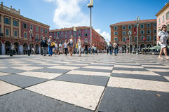 Nice,France - May 19 2017 - Checkered floor of Massena square royalty free stock images