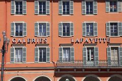 Detail of Gallery Lafayette on the Place Massena, Nice, France. NICE, FRANCE - MAY 17, 2013: Facade of Gallery Lafayette on the Place Massena, Nice, France stock photography