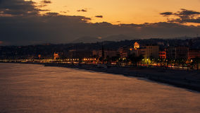 Nice, France: night view of old town, Promenade des Anglais Stock Photography