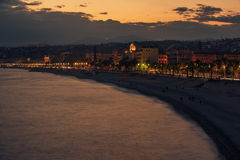 Nice, France: night view of old town, Promenade des Anglais royalty free stock photo