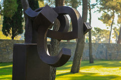 Nice, France - October 22, 2011. Foundation Maeght. Eduardo Chillida.  Sculpturs in outdoor garden. Royalty Free Stock Images