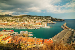 Nice, France: panoramic top view of Port Royalty Free Stock Photos