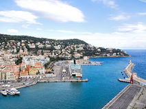 Nice, France - port, harbour and lighthouse Stock Photo