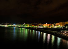 Nice, France - Promenade des Anglais by night Royalty Free Stock Photos
