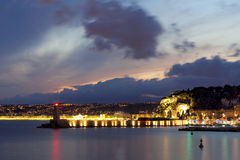 Nice France sea port night panorama with colourful sky Stock Photo