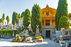 Nice, France. September 2, 2014: The graveyard at Cimetière du Château, which was founded in 1783, where some of Nice`s most famous people lie buried royalty free stock images