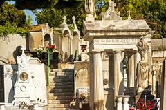 Nice, France. September 2, 2014: The graveyard at Cimetière du Château, which was founded in 1783, where some of Nice`s most famous people lie buried royalty free stock photography