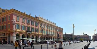 Nice Architecture Panorama and Massena Square, France Royalty Free Stock Photography
