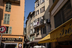 Nice France Street shops and restaurants Stock Images