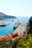 Nice, France - 16.09.16: The top view on ferry in port, one of the most beautiful embankments of Europe Stock Photography