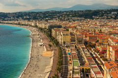 Nice, France: top view of old town andPromenade des Anglais Stock Photos