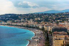 Nice, France: top view of old town andPromenade des Anglais Stock Images