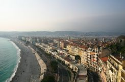 Nice, France, Waterfront. An overhead view of the Nice's main promenade Royalty Free Stock Image