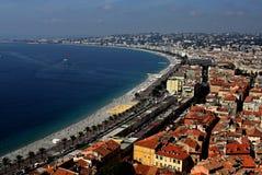 Nice, Frankrijk op de mediterrane kust stock foto
