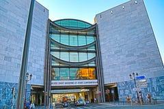 Nice Frankrike - Juni 11, 2014: Museum av modernt och samtida konst i Nice arkivbilder