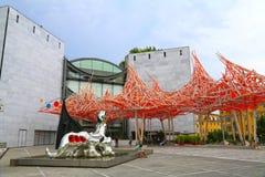 Nice Frankrike - Juni 14, 2014: Museum av modernt och samtida konst i Nice royaltyfri bild