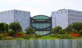 Nice Frankrike - Juni 14, 2014: Museum av modernt och samtida konst i Nice fotografering för bildbyråer