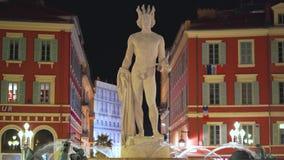 Nice, Frankrike - November 4, 2018 - Massena fyrkant med den Apollo statyn och fountainen du Soleil arkivfilmer