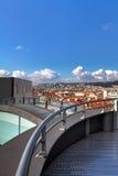 Nice Frankrike - Oktober 17, 2011: Arkitektonisk detalj av museet av samtida konst Royaltyfri Bild