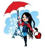 Nice French girl with umbrella Stock Photo