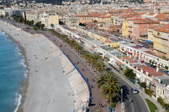 Nice, French riviera. Nice on the French riviera, seaside from the hill castle with the famous English walkway and the Angels bay Royalty Free Stock Images