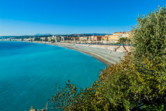 Nice french riviera. Nice bay in alpes maritimes french riviera France Stock Images