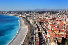 Nice, French Riviera. City and beach promenade Royalty Free Stock Photo