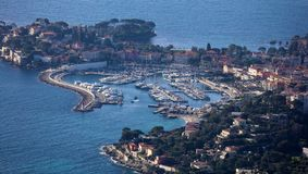 Nice French riviera, Côte d`Azur, mediterranean coast, Eze, Saint-Tropez, Cannes and Monaco. Blue water and luxury yachts. French riviera, Côte d`Azur Royalty Free Stock Photos