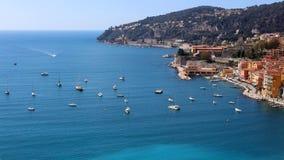 Nice French riviera, Côte d`Azur, mediterranean coast, Eze, Saint-Tropez, Cannes and Monaco. Blue water and luxury yachts. French riviera, Côte d`Azur Stock Photography