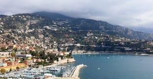 Nice French riviera, Côte d`Azur, mediterranean coast, Eze, Saint-Tropez, Cannes and Monaco. Blue water and luxury yachts. French riviera, Côte d`Azur Royalty Free Stock Photo