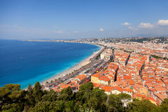 Nice, French Riviera. Panorama of Nice, French Riviera viewed from the high Castle Hill Royalty Free Stock Photography