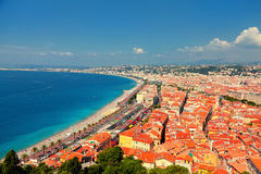 Nice, French Riviera. Viewed from the high Castle Hill Royalty Free Stock Images