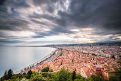Nice, French Riviera viewed from the high Castle Hill Royalty Free Stock Photos