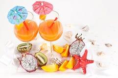 Nice fresh exotic cocktails Stock Photo
