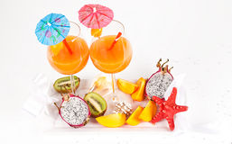 Nice fresh exotic cocktails Royalty Free Stock Photos