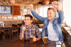 Nice friends feeling disappointing. Love football. Vivacious young pleasant guys sitting in the pub and drinking beer while evincing in positivity royalty free stock image