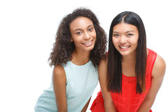 Nice friends leaning ahead Royalty Free Stock Photos