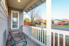 Nice front yard with porch and walkway.nice front yard with porc Stock Photo