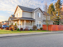 Nice front yard with porch and walkway.nice front yard with porc Stock Photography