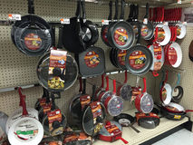 Nice fry pan selling at store Stock Image
