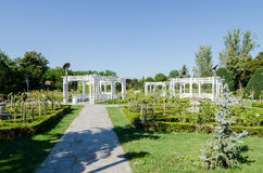 A nice gazebo and a bench painted in white in a par. K filled with flowers and greenery Royalty Free Stock Images