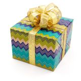 Nice gift with big golden bow Royalty Free Stock Photography