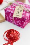 Text I love you in a gift royalty free stock photos