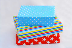 Nice gifts in colored wrapping paper Stock Photography