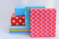 Nice gifts in colored wrapping paper Stock Image